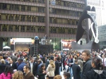 The crowd at Daley Plaza just after the announcement. (Photo by Jake Scott)
