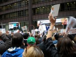 The crowd at Daley Plaza quickly fell quiet when Chicago was eliminated. (Photo by Caitlin Hacker)